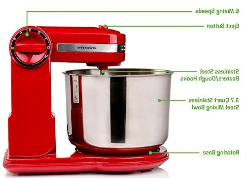 Ovente Stand with 3.7 Quart Steel Mixing Speeds, Rotating Includes Beaters, and Storage Stand,