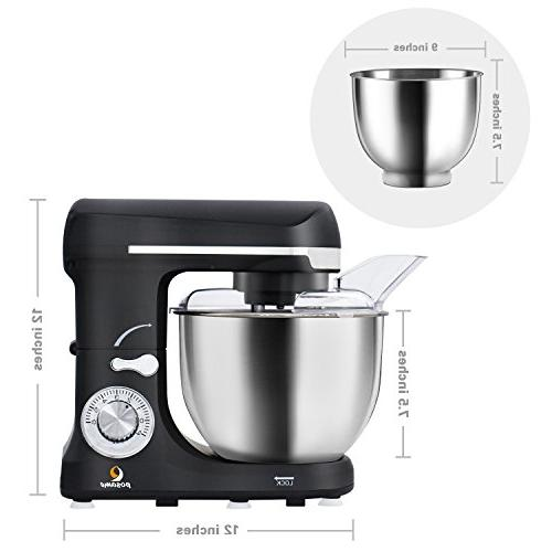 Stand Mixer Cake/Bread Electric Mixer 5 Bowl,Dough Hook,Whisk,Beater,Pouring