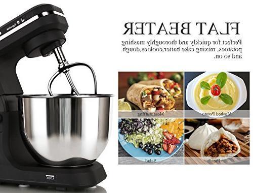 MURENKING Mixer 500W 6-Speed 5-Quart Stainless Steel Bowl, Tilt-Head Electric Food Dough Hooks, Pouring Shield