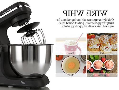 MURENKING Stand Mixer 500W 6-Speed 5-Quart Steel Bowl, Tilt-Head Kitchen Electric Dough Hooks,