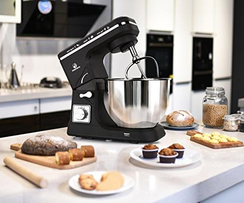 MURENKING MK36 500W Steel Electric Food Dough Hooks, Whisk, Beater, Pouring Shield