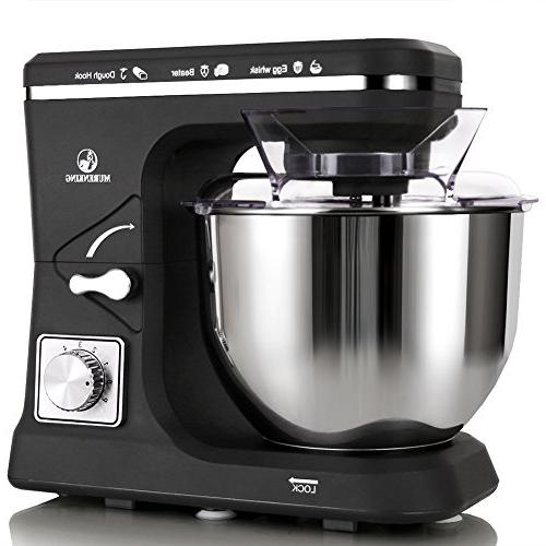 MURENKING 500W Stainless Steel Kitchen Electric Food Mixer with Dough Whisk, Pouring Shield
