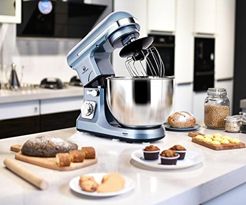 Stand Mixer MURENKING 500W Tilt-Head Food Electric Machine,Plastic,Silver Blue
