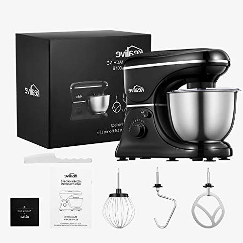 Kealive Stand Speed Watt Mixer with 5-Quart Steel Whisk, Beater, Dough Mixer Black