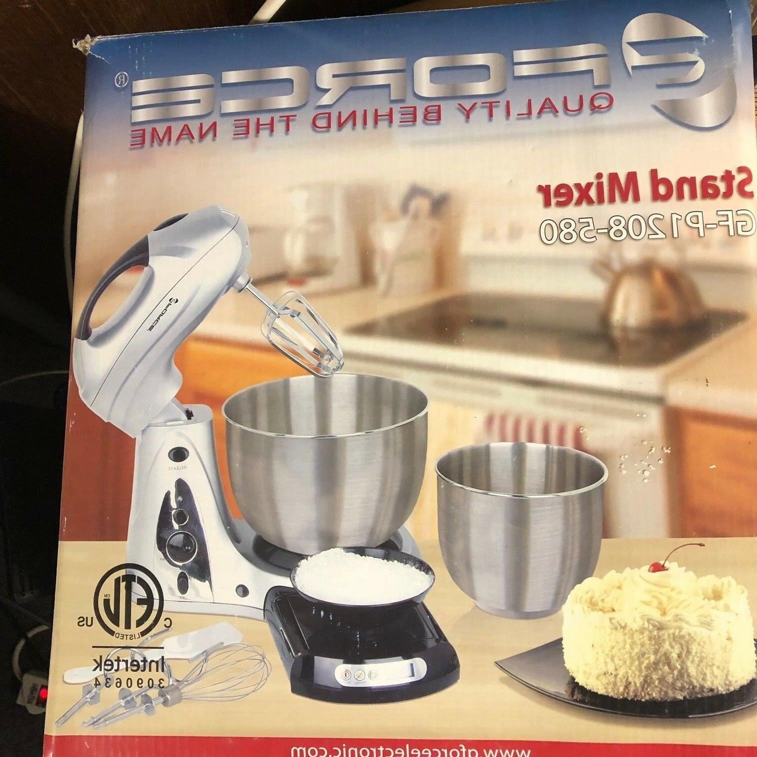 stand mixer with bowls and scale