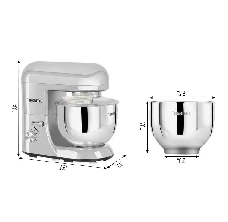 CHEFTRONIC Tilt-Head Multi-functional Kitchen Stand Mixer Silver