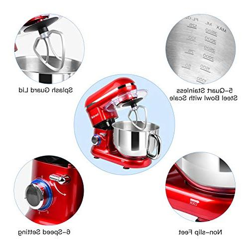 Hornbill Stand Mixer, Electric Mixer 600W 6-Speed 5-Quart Stainless Professional Dough Hook, Whisk, Beater