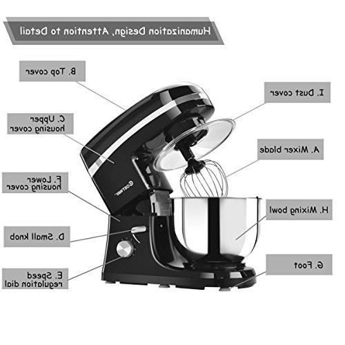 Costway Tilt-head Stand 5.3Qt Food Mixer with Blade, Splash Bowl