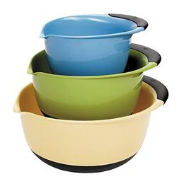 3 Piece Mixing Bowl Set - Plastic , Plastic, Blue, Solid, 4