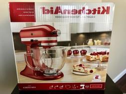 New KitchenAid Artisan 5 Quart Glass Bowl Candy Apple Red St