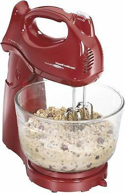 Hamilton Beach Power Deluxe 4 Quart Stand Mixer, RED , FREE