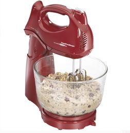 Hamilton Beach Power Deluxe 4 Quart Stand Mixer, Red and Bla