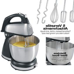 Stainless Steel Hand and Stand Mixer with Beaters Whisk and